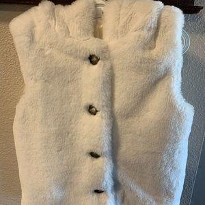 White Faux Fur Vest with Hood